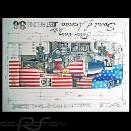 Porsche Porsche 956 Spirit of America 1986 Original Zeichnung von Sébastien Sauvadet
