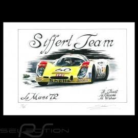Porsche 908 LH Le Mans 1972 n° 60 Original Zeichnung von Sébastien Sauvadet