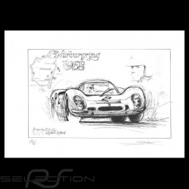 Porsche 908 n° 2 Nürburgring 1968 Original Zeichnung von Sébastien Sauvadet