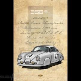 Plakat Porsche 356 SL Drückplatte auf Aluminium Dibond 40 x 60 cm Helge Jepsen