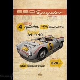 Plakat Porsche 550 Spyder Drückplatte auf Aluminium Dibond 40 x 60 cm Helge Jepsen