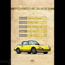 Plakat Porsche 911 S 2.2 Drückplatte auf Aluminium Dibond 40 x 60 cm Helge Jepsen