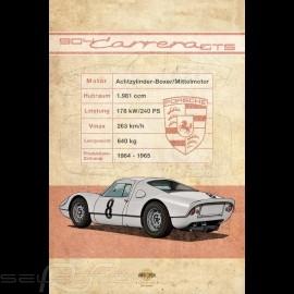 Plakat Porsche 904 Carrera GTS Drückplatte auf Aluminium Dibond 40 x 60 cm Helge Jepsen