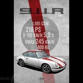 Plakat Porsche 911 R 1967 Drückplatte auf Aluminium Dibond 40 x 60 cm Helge Jepsen