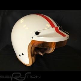Helm Steve McQueen Elfenbein rote und blaue Streifen
