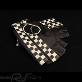 Fahren Handschuhe fingerless Leder Racing schwarz Zielflagge