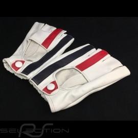 Fahren Handschuhe fingerless Leder Racing creme rot und blau Streifen