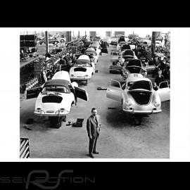 Postkarte Porsche Ferry in der Montagehalle 2 1958 10x15 cm