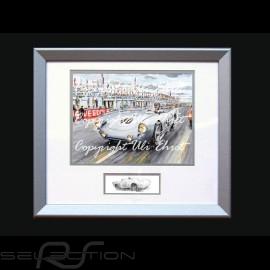 Porsche Poster 550 Le Mans 1954 n° 40 von Frankenberg mit Rahmen limitierte Auflage signiert von Uli Ehret - 134