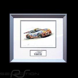 Porsche 911 type 996 GT3 RSR n° 73 Gulf Go on Aluminium Rahmen mit Schwarz-Weiß Skizze Limitierte Auflage Uli Ehret - 82