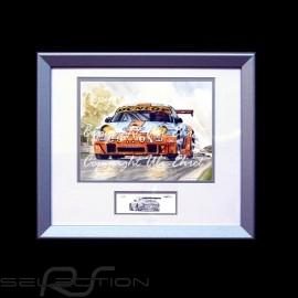 Porsche 911 type 996 GT3 RSR Gulf Ice pole Aluminium Rahmen mit Schwarz-Weiß Skizze Limitierte Auflage Uli Ehret - 107