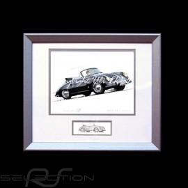 Porsche Poster 356 A Cabriolet schwarz Aluminium Rahmen mit Schwarz-Weiß Skizze Limitierte Auflage Uli Ehret - 138