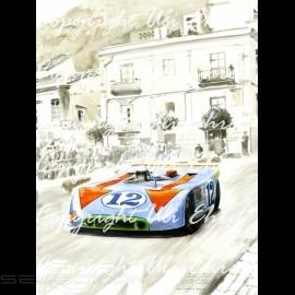 Porsche Poster 908 /03 Sieger Targa Florio 1970 n° 12 auf Leinwand limitierte Auflage signiert von Uli Ehret - 318
