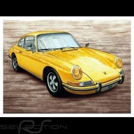 Porsche Poster 911 S 2.2 gelb 1969 François Bruère - N111