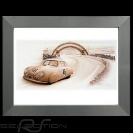 Porsche Poster 356 Le Mans 1951 n° 46 Aluminium Rahmen François Bruère - N109