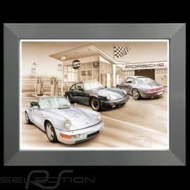 Porsche Poster 911 SC air evolution 1977-1998 Aluminium Rahmen François Bruère - N127