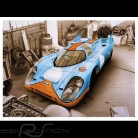 Porsche Poster 917 K Le Mans 1971 Gulf François Bruère - N110