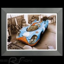 Porsche Poster 917 K Le Mans 1971 Gulf Aluminium Rahmen François Bruère - N110