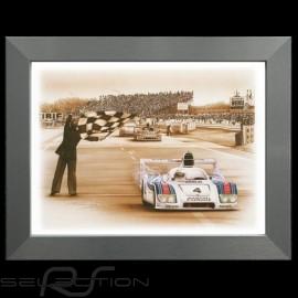 Porsche Poster 936 Sieger Le Mans 1977 n° 4 Aluminium Rahmen François Bruère - N69