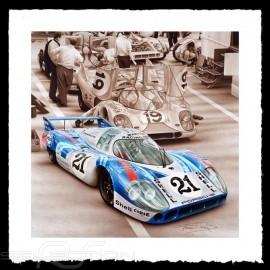 Porsche Poster 917 LH Le Mans 1971 n° 21 Martini François Bruère - VA101