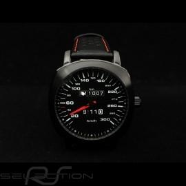 Porsche 911 Automatikwerk Uhr 300 km/h Tachometer schwarz kissenförmigen Gehäuse / schwarz Wahl / weiße Zahlen