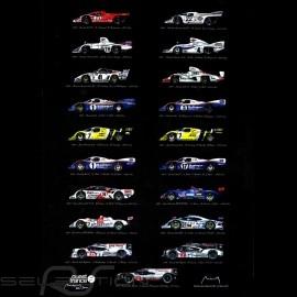 Porsche Plakat Le Mans Siegers 19 Sieg Auflage 50 x 70 original Kunst von Alain Baudouin