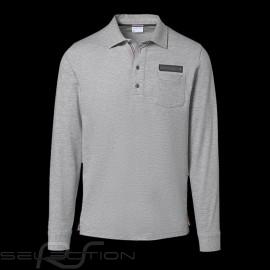 Porsche polo Shirt Classic Collection Hellgraumeliert lange Armel Porsche WAP714K - Herren