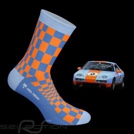 928 GT Pasha Socken Gulfblau / orange - Unisex