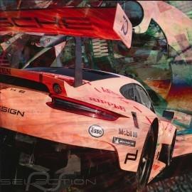 Plakat Porsche 911 typ 991 RSR Le Mans 2018 Sau 50 x 50 originale Kunst von Caroline Llong