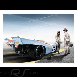 Porsche 917 K n° 22 Gulf Le Mans mit Jo Siffert und Pedro Rodriguez plakat 83.8cm x 59cm