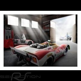 Alte garage mit Porsche 908 /02 n° 1 Nürburgring 1969 plakat 29.7cm x 42cm