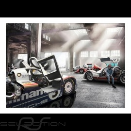 Garage mit Porsche 956, 906 und 904 plakat 83.8cm x 59cm