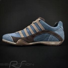 Sneaker / Basket Schuhe Style Rennfahrer Pazifik blau / braun - Herren