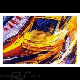 Porsche 911 Turbo gelb Reproduktion eines Originalgemäldes von Uli Hack