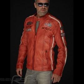 Gulf Lederjacke Dakota Super Sport Racing Team Classic driver Orange - Herren