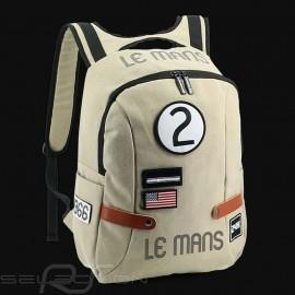 24h Le Mans Legende Classic Rucksack Beige Baumwolle Offizielle Versorgung LM300BE-20B