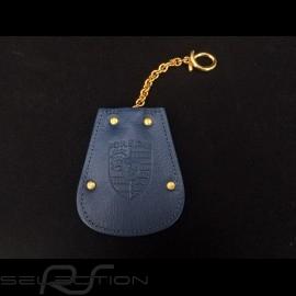 Porsche Schlüsseltäschchen blau leder Reutter einziehbar vergoldete Kette