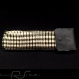 Original Porsche Pepita braun Hahnentrittstoff / Schwarzes Recaro Leder Tasche mit Klappe - Erste-Hilfe-Kasten enthalten