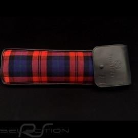 Original Porsche Tartan Stoff / Schwarzes Recaro Leder Tasche mit Klappe - Erste-Hilfe-Kasten enthalten