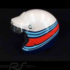 Helm racing metallisch weiß / blau / rot