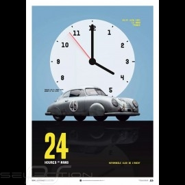 Porsche Poster 356 Gmund Sieger 24h le Mans 1951 n° 46 Veuillet / Mouche