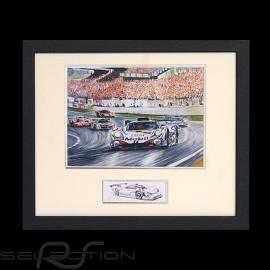 Porsche Poster 911 GT1 Sieger Le Mans 1998 Schwarz Rahmen mit Schwarz-Weiß Skizze Limitierte Auflage Uli Ehret - 201