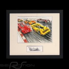Porsche 917 / 30 Canam monsters Aluminium Rahmen mit Schwarz-Weiß Skizze Limitierte Auflage Uli Ehret - 227