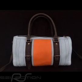 No logo Handtasche Bowling style Gulf blau / orange / schwarz Leder