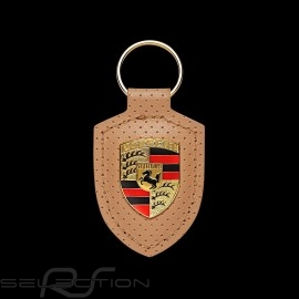 Schlüsselanhänger Porsche Heritage Wappen perforiert beige WAP0500900LHRT