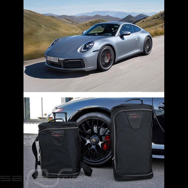 Reisegepäck für Porsche 992 Maßgefertigt aus schwarzem Stoff - Trolley und Reisetasche