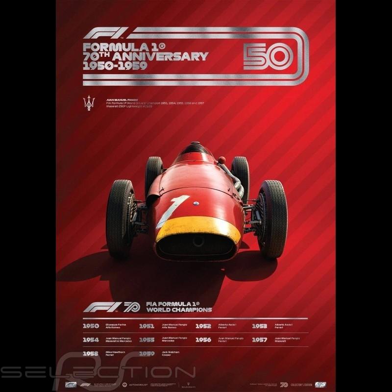 Maserati Poster F1 70. Geburtstag 1950 - 1959 Limitierte Auflage