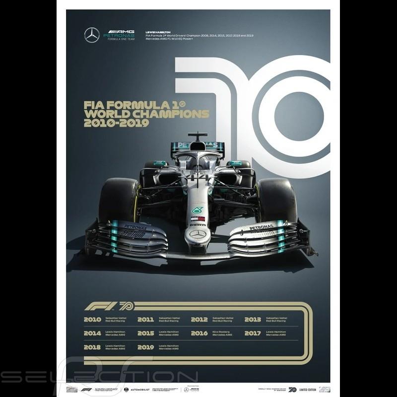 Mercedes Poster AMG Petronas F1 Team 70. Geburtstag 2010 - 2019 Limitierte Auflage