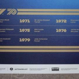 Tyrrell Poster F1 World Champions 1970 - 1979 Limitierte Auflage