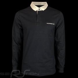 Porsche polo Shirt Classic marineblau / weiße Kragen lange Armel Porsche WAP917 - Herren